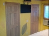 Large leaf on yellow glazed walls