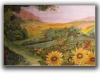 Sunflower landscape mural