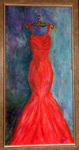 radiant red gown painting